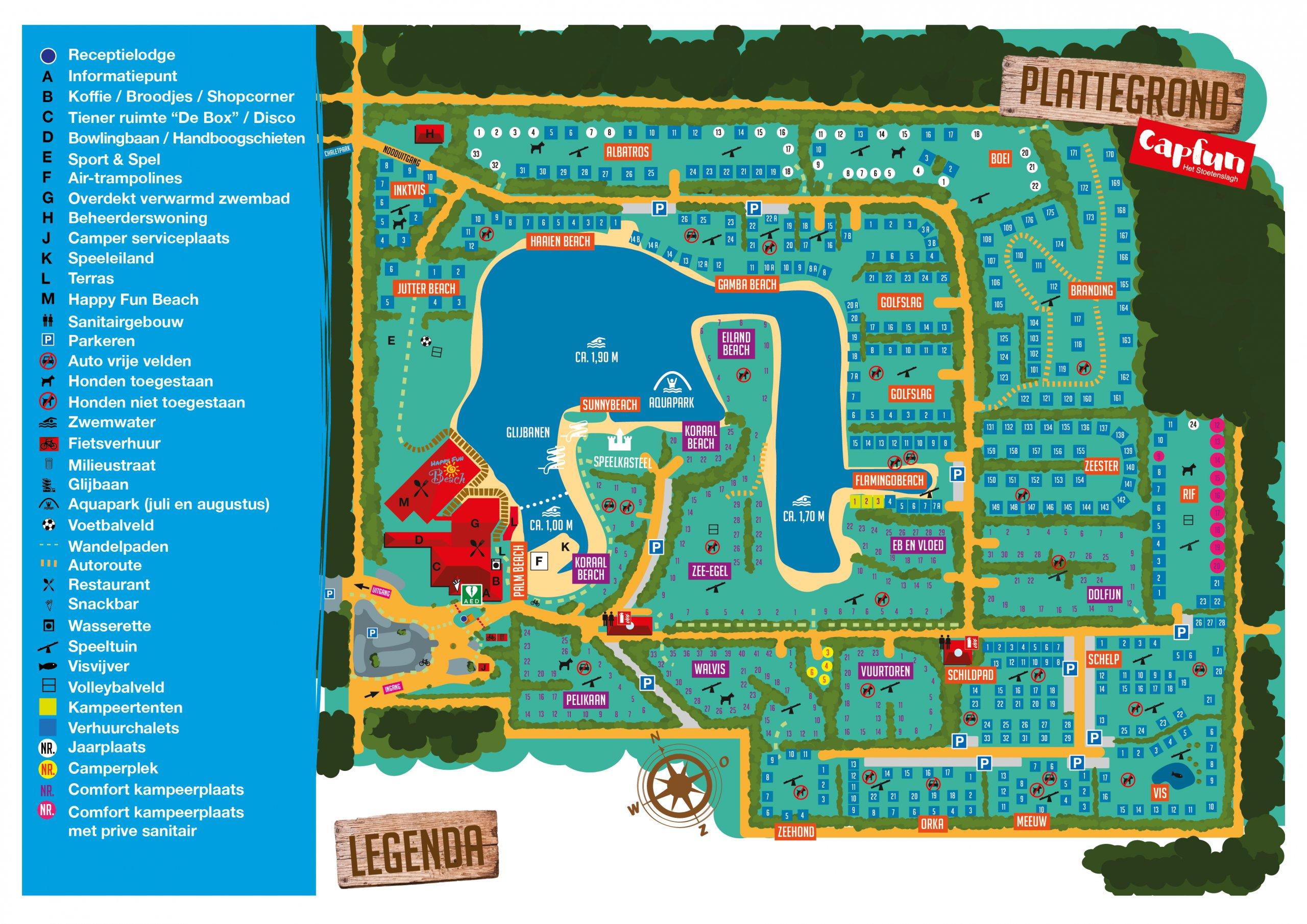 Plattegrond vakantiepark Capfun het Stoetenslagh -